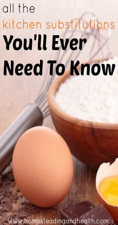 All the kitchen substitutions you'll ever need to know. >>> No idea if i'll ever need them, but it seems good to have. Real Food Recipes, Great Recipes, Cooking Recipes, Yummy Food, Favorite Recipes, Healthy Recipes, Food Hacks, Food Tips, Baking Tips