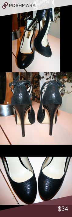 """Strappy cutout pumps These pretty babies have hardly been worn. Genuine leather upper with subtly shiny embossed reptile print design and cushioned foot bed. 4.5"""" heel with about 1"""" hidden platform that makes them easier to walk in. Super stylish, sexy & classy. Standard medium width.  #snake INC International Concepts Shoes Heels"""