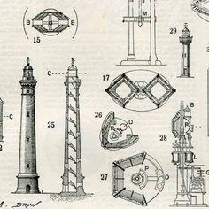Lighthouses Architecture Lights Inner por AntiquePrintsAndMaps