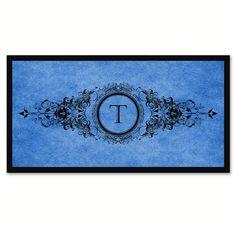 Alphabet Letter T Blue Canvas Print, Black Custom Frame