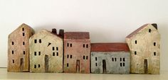 set of 5 ceramic houses in a row made in high fired by VGCLAYART