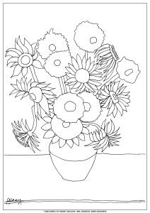 sunflower coloring page van gogh sunflower coloring page van gogh pinterest van gogh sunflowers and vans