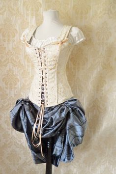 Cream brocade overbust corset-steel boned corset in Freyja style $129