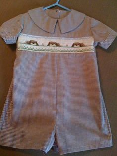 The khaki puppies smocking plate by Creative Keepsakes. Michie Mooney smocked romper.