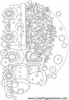 Christmas Coloring Pages - Christmas 105 Christmas Train, Christmas Art, Coloring Book Pages, Printable Coloring Pages, Christmas Coloring Sheets, Pintura Country, Christmas Embroidery, Christmas Colors, Coloring Pages For Kids