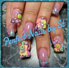 Acrylic nails with 3D nail art