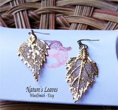 Antique Gold Genuine Birch leaves on hammered wires, WoodSmith $17.95, via Etsy.