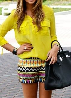 yellow blouse-shirt with colorful shorts