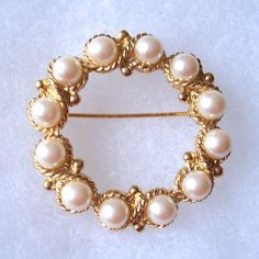 Gold Tone & Faux Pearls Circle Brooch Lovely by TheBumbleBoutique