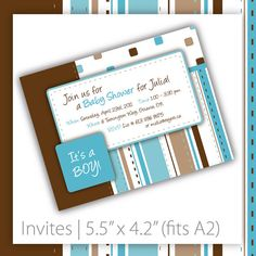 Baby Shower Invitation . PRINTABLE . Brown & Blue Patch ~ $20.00 ~ baby shower invitation, printable baby shower invitation, baby shower invite, printable baby shower invite, do it yourself baby shower,  adorable baby shower, cute baby shower, modern baby shower ~ https://www.etsy.com/listing/70420186 #babyshower #boybabyshower #babyshowerideas #babyshowerideas #babyshowerinvitation