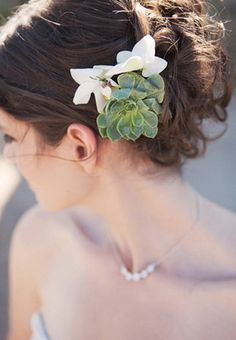updo wedding hairstyle with succulent hairpieces