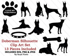 Doberman Silhouette Clip Art Set  13 Piece  Dog by RoyalPixels