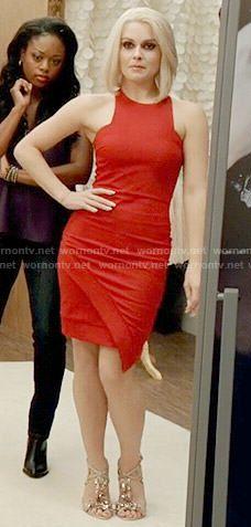 Liv's red asymmetric dress on iZombie.  Outfit Details: http://wornontv.net/53088/ #iZombie