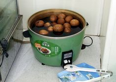 The slow cooker method in Taipei City from Jamie Wisner. Tea Eggs, Taipei, Slow Cooker, Sausage, City, Food, Sausages, Essen, Cities