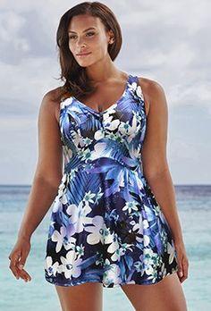 Plus Size - Beach Belle Nigella V-Neck Swimdress