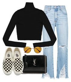 """Sin título #4018"" by camilae97 ❤ liked on Polyvore featuring Nobody Denim, Yves Saint Laurent, Vans and Retrò"