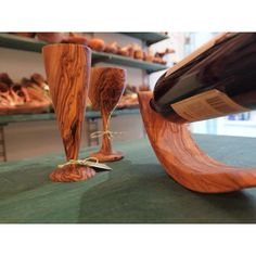 Wine Glasses and wine holder made of Olive Wood!!