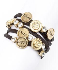 Gold & Black Inspiring Wrap Bracelet
