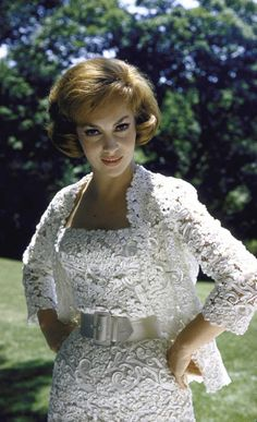Gina Lollobrigida vintage fashions style movie star glam white lace ribbon sheath dress matching jacket wasp waist belt cocktail unique wedding bride early 60s era vintage