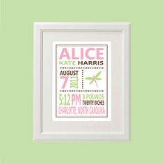 8x10 Personalized Dragonfly Birth Stats Print More by LanieAndLola, $12.00