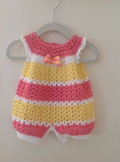 Crochet infant romper 0-3 months - Baby crochet patterns are so unique; just look how adorable this one is!