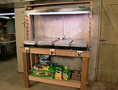 Build an indoor-outdoor planting and potting bench with an adjustable light fixture. Perfect for starting seedlings and all other potting needs.