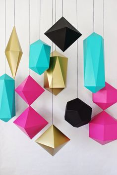 This Set Of 12 Low Poly Origami Figures - Origami Decor - Wall decoration - Low Poly - Papercraft Template - Paper Craft PaperCraft is just one of the custom, handmade pieces you'll find in our finished origami shops. Diy And Crafts, Arts And Crafts, Paper Crafts, Instalation Art, Diy Party, Party Ideas, Paper Art, Craft Projects, Craft Ideas