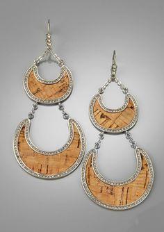 Brown/Silver Cork Chandelier Earrings