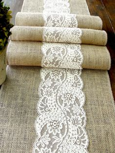Burlap table runner wedding table runner with country cream lace rustic table decor , handmade in the USA