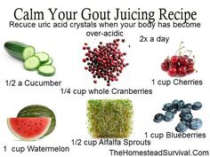 Juices - for Gout - like Black Cherry juice - all natural - or make your own juice with cherries, blueberries, alfalfa sprouts, watermelon, cranberries, cucumber