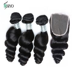 7A Peru Rambut Longgar Gelombang 3 Bundel Dengan Penutupan Bundel dengan lace closure peru perawan rambut dengan penutupan murah manusia rambut