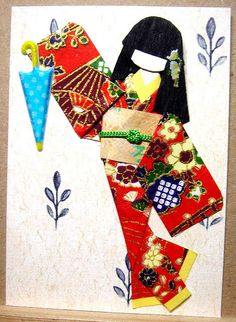 ATC132 - It's going to rain ATC with hand-made Japanese paper doll.