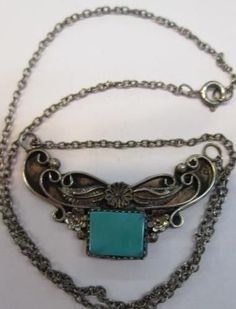 """VINTAGE NATIVE AMERICAN STERLING SILVER TURQUOISE CHOKER NECKLACE 16"""""""