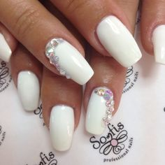 #nailprocare, Mermaid strass White nails  www.nailprocare.gr