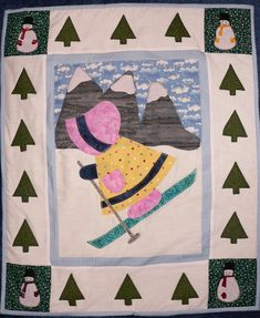 January Sunbonnet Sue. She is speeding down the slopes on her little shoes with bonnet securely fastened.