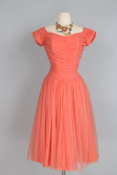 1950s Peach Fit Flare Chiffon Tulle Ruched Gathered Bodice Dress With Boning Size Small Medium Prom Or Summer Wedding by VintageBySuzanne on Etsy