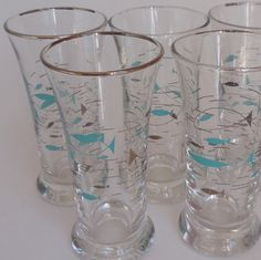 5 Libbey Mediterranean Atomic Fish Small drinking glasses by VeejaysVintage, $34.00