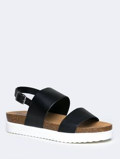 - Your lazy Sunday just got better with these platform sandals on! - Slingback sandals have wide, leatherette straps with an open toe design and an adjustable buckle in the back. - Non-skid sole and c Sock Shoes, Cute Shoes, Me Too Shoes, Shoe Boots, Sandals Outfit, Shoes Sandals, Women Sandals, Flipflops, Studded Heels