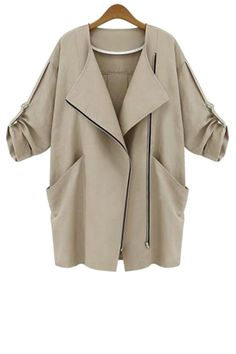 34 sleeve solid color trench coat
