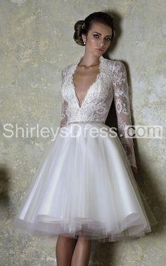 Deep-V Long Sleeve Lace and Organza Joint Bridal Dress
