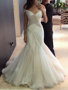 Sexy Wedding Dresses Trumpet/Mermaid Sweep/Brush Train Bridal Gown JKS247