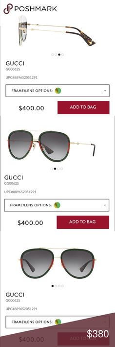 Gucci sunglasses The Gucci brand represents the quintessence of luxury. Modern and sexy, it is an exclusive brand that reflects an elegant lifestyle. The sunwear collection uses only the highest quality materials and offers distinctive shapes enriched with historic icons that celebrate the House of Gucci. Gucci Accessories Sunglasses