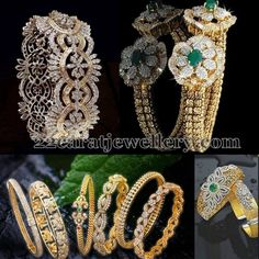 Left: Floral designer diamond kada with 22 carat gold. Bottom: different patterned simple diamond designer bangles gallery. Right: Anti. Indian Wedding Jewelry, Indian Jewelry, Bridal Jewelry, Diamond Bracelets, Gold Bangles, Bangle Bracelets, Diamond Jewellery, Jewelry Patterns, Necklace Designs