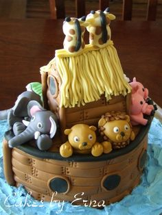 Noah's Ark Cake...How about a Noah's Ark Bounce House too? see it at http://www.astrojump.com/index.php?pi=astroCart=product==11469=5