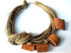 Cinnamon Linen Necklace by Cynamonn on Etsy