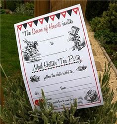 Mad Hatter Tea Party Invitations http://www.partyideasuk.co.uk/library/printable-templates/invitations.aspx