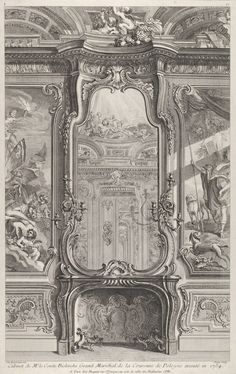 Juste-Aurèle Meissonnier Cabinet of Mr. Count Bielenski Grand Marshal of the Crown of Poland executed in 1734 Engraving on white laid paper Cooper–Hewitt, National Design Museum Architecture Drawings, Historical Architecture, Architecture Details, Baroque Architecture, Classical Architecture, Rococo, Fireplace Mirror, Live In Style, Mirror Art
