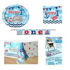 Nautical 1st Birthday Party Supply Bundle for 16: High Chair Decorating Kit, Table Covers, Banner, Plates, and Napkins - http://www.partysuppliesanddecorations.com/nautical-1st-birthday-party-supply-bundle-for-16-high-chair-decorating-kit-table-covers-banner-plates-and-napkins.html