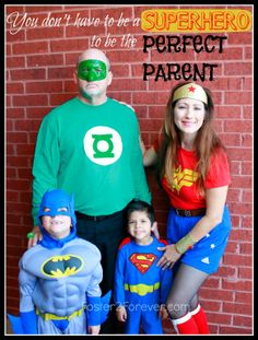 Check out this family of superheroes! Great Halloween costume idea for family or group!