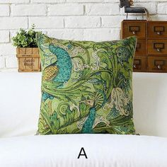 Peacock Decorative Pillows For Couch Green Leaves Sofa Cushions